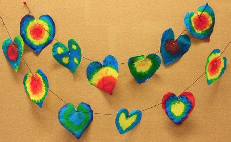 Dye, rubber bands, playsilks, plastic tablecloth, rubber gloves, and plastic bags. Tie Dye Heart Garland made from coffee filters   Diy tie ...