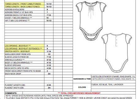 childrens newborn baby spec sheet sample womens mens