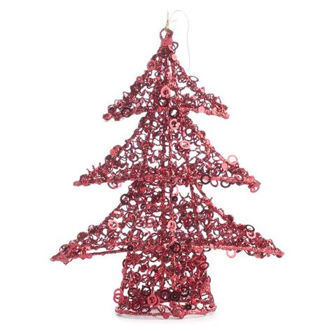 red sequin wire christmas tree trees and toppers