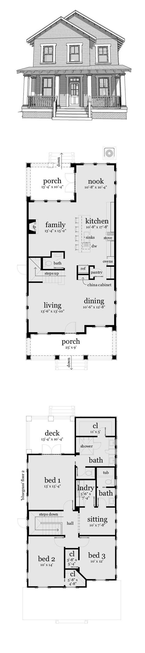 narrow house plans ideas  pinterest
