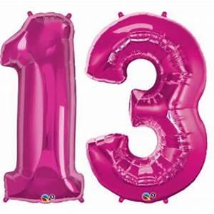 Pink Number 13 Balloon, Large 13th birthday balloon