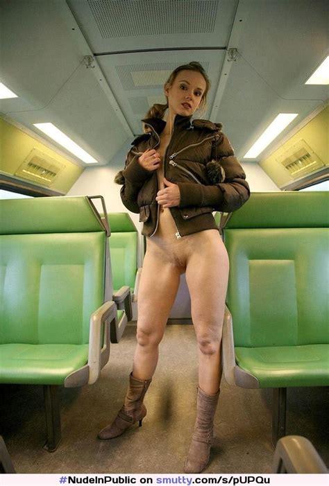 nudeinpublic flashing cute brunette pussy flashingpussy bottomless train subway