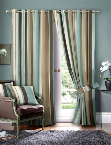 Striped Draperies by Striped Faux Silk Curtains Duck Egg Blue Eyelet