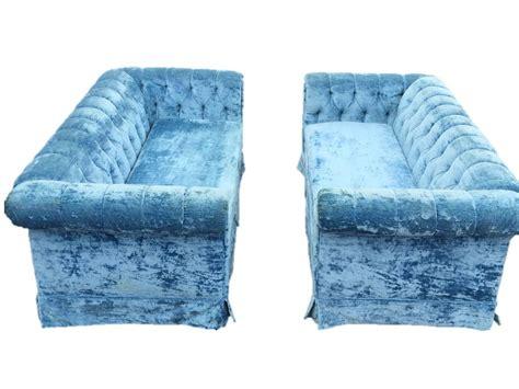pair of blue tufted velvet chesterfield sofas at 1stdibs