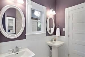 wainscoting ideas bathroom purple and white bathroom