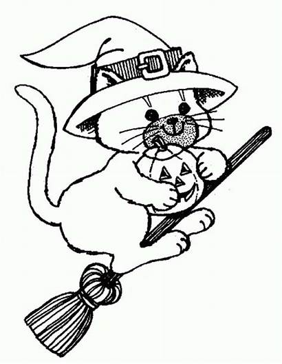 Witch Coloring Halloween Cat Riding Broomstick Broom