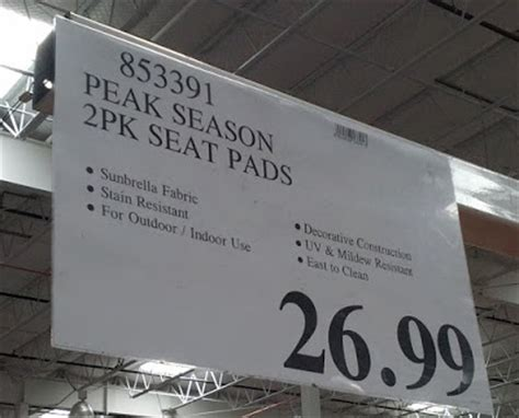 peak season sunbrella outdoor seat pads 2 pack costco