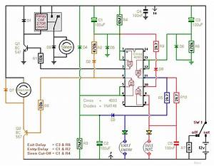 Two-zone Intruder Alarm - Control Circuit - Circuit Diagram