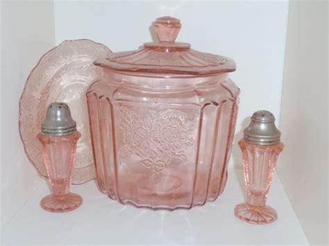 vintage pink depression glassmayfair cookie jar  unk