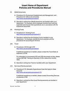 Departmental Policies And Procedures Manual Template In