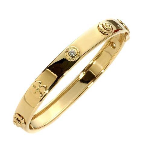 Chanel Camellia Diamond Gold Bangle Bracelet For Sale at