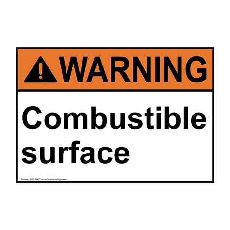 how to right a letter ansi combustible surface sign awe 33457 33457