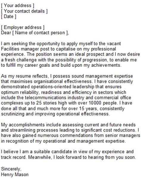 facilities manager covering letter sample