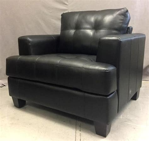 Large Leather Armchair W Attached Cushions