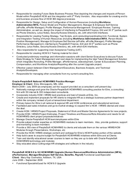 Peoplesoft Financials Functional Analyst Resume by Resume Peoplesoft Hcm Expert 15plusyears Upd2016
