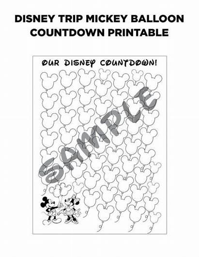 Printable Disney Countdown Coloring Balloon Mickey Trip