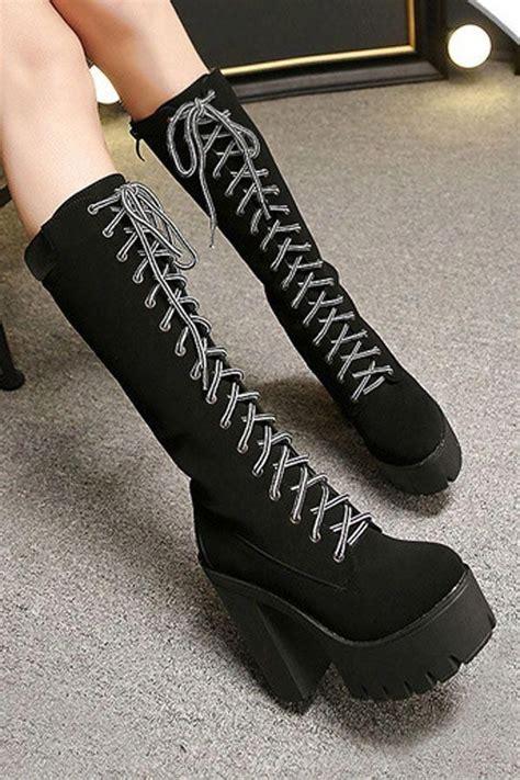 Black Lace Platform Chunky Heel Mid Calf Boots