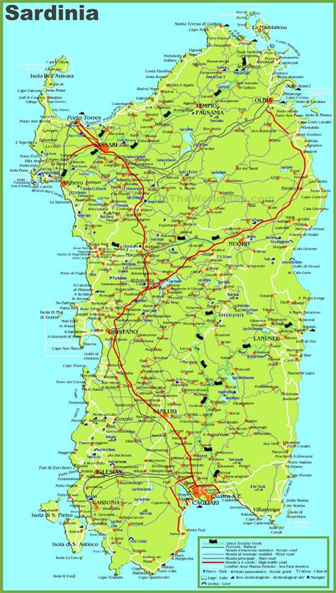 large detailed map  sardinia  cities towns