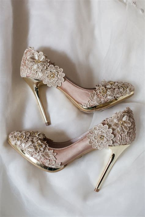 Wedding Shoes by Sale Vintage Flower Lace Wedding Shoes With Chagne Gold