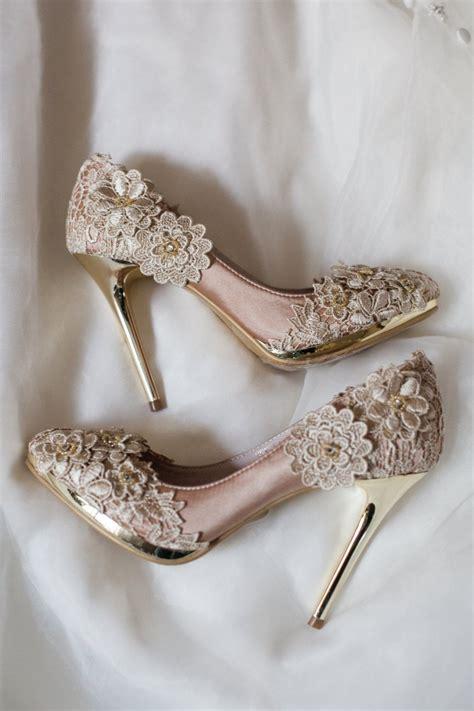 sale vintage flower lace wedding shoes  champagne gold