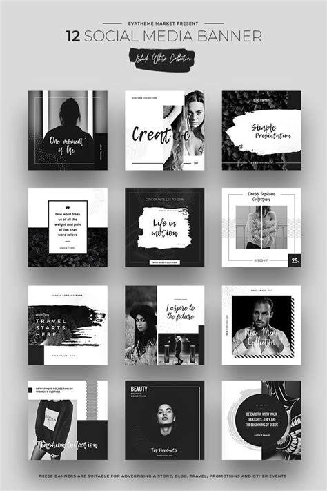 black white socialmedia designs psd template
