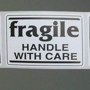 20 'fragile' stickers black and white 2 by 3 inch