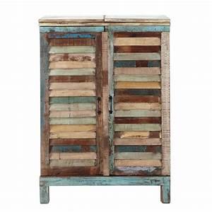 Meuble Bar Maison Du Monde : meuble de bar en bois recycl multicolore l 75 cm calanque ~ Nature-et-papiers.com Idées de Décoration