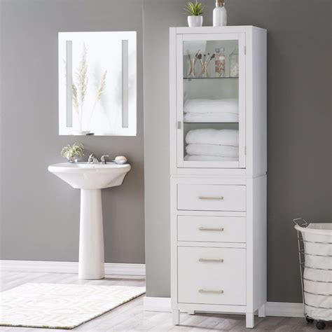 tall narrow corner bathroom linen stand tower cabinet