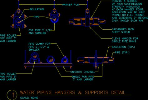 water piping hangers dwg block  autocad designs cad