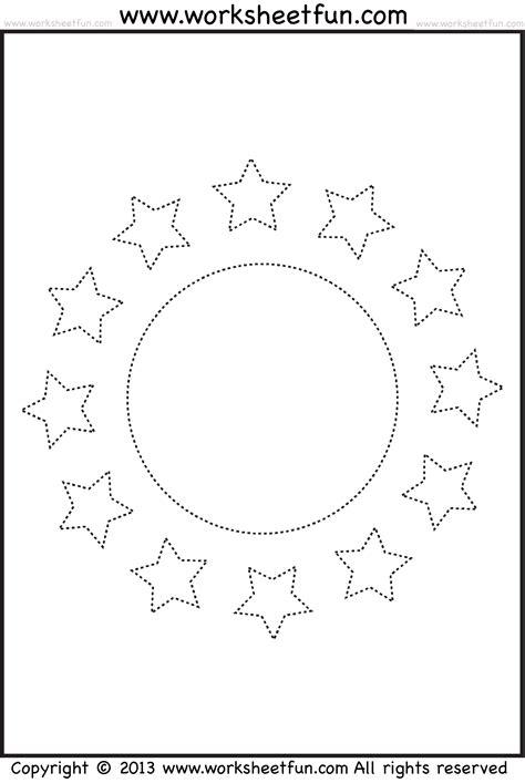 Shape Tracing Worksheet  Circle And Stars  Free Printable Worksheets Worksheetfun