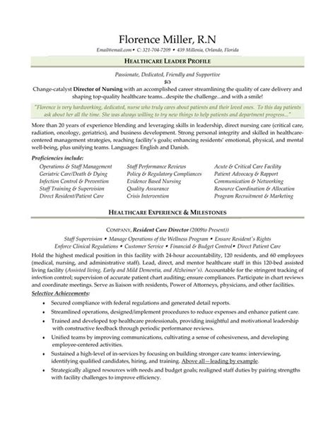 resume sle director of nursing resume ixiplay free