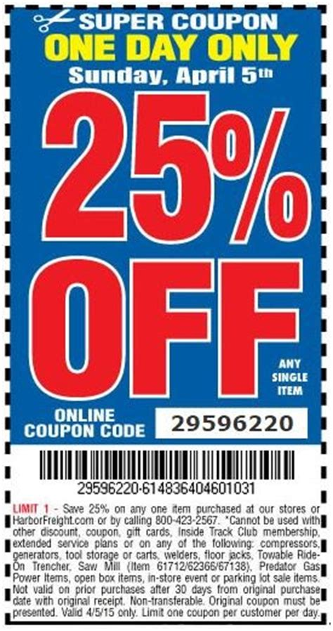 hot deal harbor freight   coupon code  easter