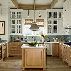 stylish two tone kitchen cabinets for your inspiration With kitchen cabinets lowes with coastal wall art on wood