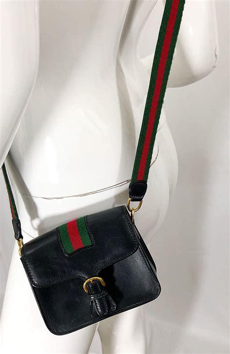 vintage gucci mini  black leather small minature crossbody  shoulder bag  stdibs