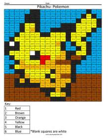 Math Color by Number Coloring Pages Pokemon