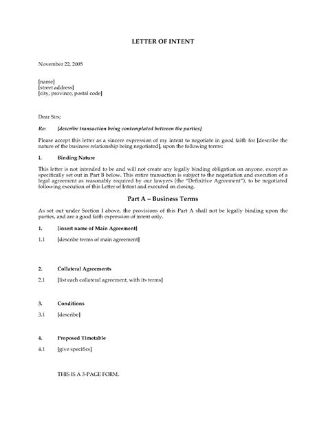 canada letter  intent template legal forms
