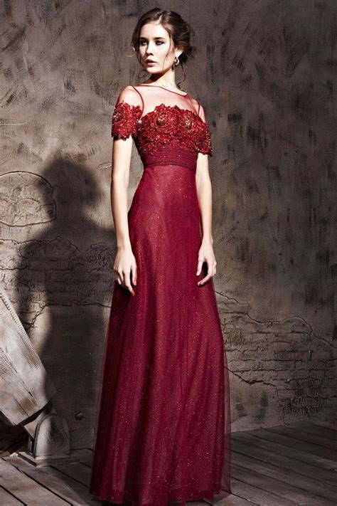 Wine Red Evening Dresses Jewil Short Sleeve Lace Appliques ...