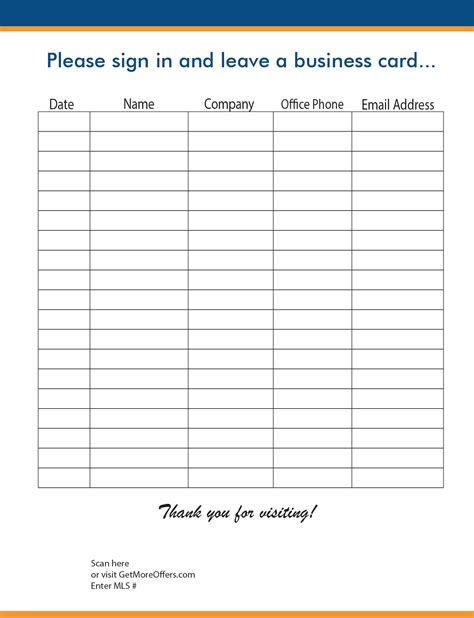 Open House/realtor Sign-in Sheet Template