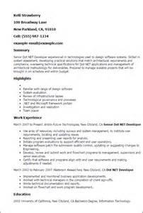 dot net developer resume professional senior dot net developer templates to