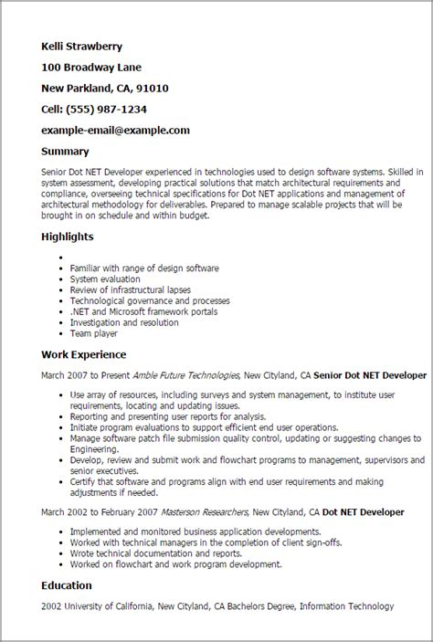 Asp Net Developer Resume by Professional Senior Dot Net Developer Templates To