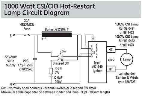 Metal Halide Wiring Diagram 240 Volt by Ge Cid1000 Hr G38 99 0422 Light Bulb Replacement L