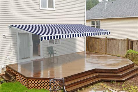 retractable patio awning  feet blue  white striped aleko