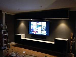 Wall mounted ikea bestas and under cabinet lights with for Kitchen colors with white cabinets with movie theater wall art