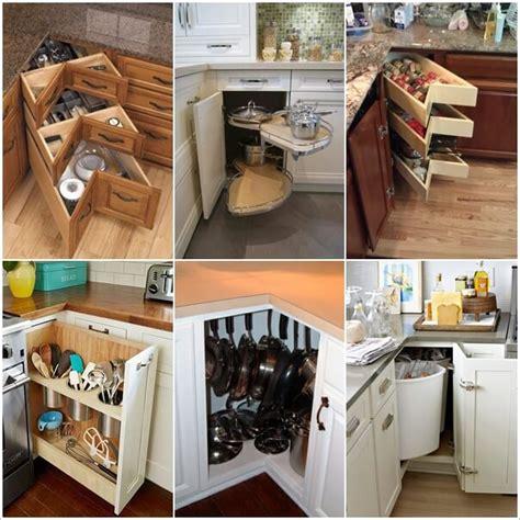 clever kitchen corner cabinet storage  organization ideas