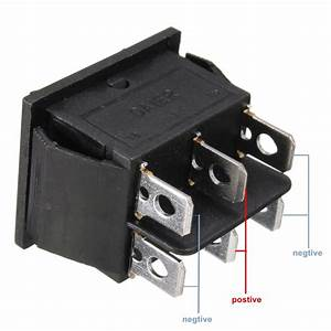 Dpdt 6 Pin Power Window Momentary Rocker Switch Ac 250v
