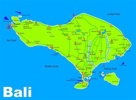 map  bali tourist attractions bali indonesia holiday