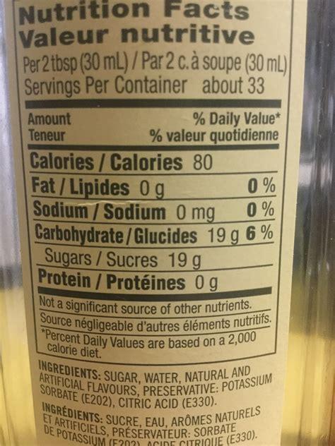 syrup nutrition starbucks