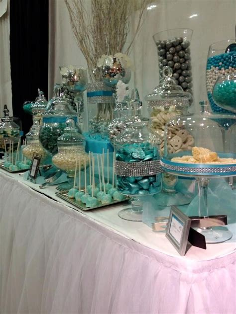 tiffany buffet table ls blue and white candy buffet tables blue silver and