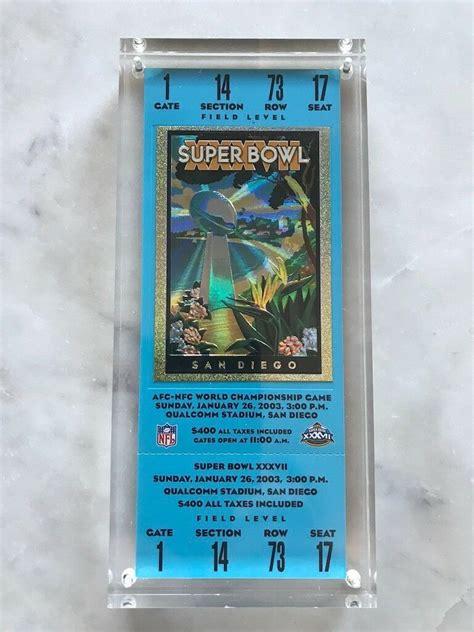 nfl super bowl xxxvii  commemorative game ticket