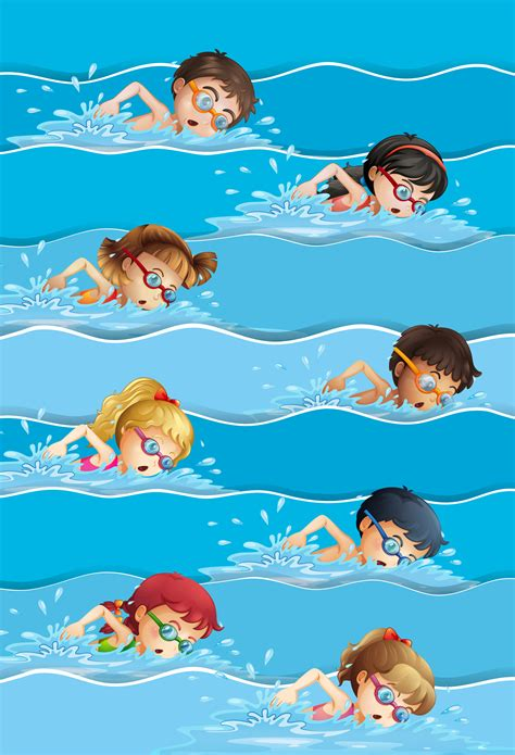 viele kinder schwimmen im pool  kostenlos vector